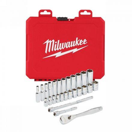 """Dugókulcs készlet racsnis metrikus 28 részes 1/4"""": 5-15 mm MILWAUKEE"""
