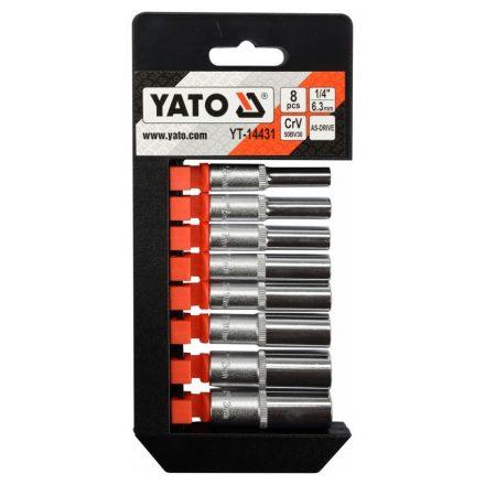 """Hosszú dugókulcs készlet 8 részes 1/4"""": 5,5-13 mm YATO"""